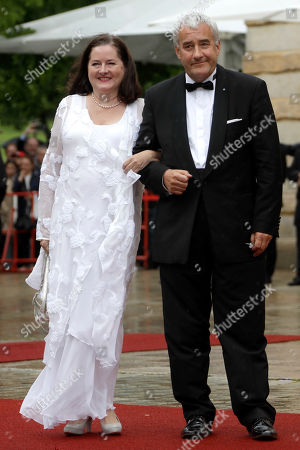 Bavarian Minister of Culture Ludwig Spaenle and his wife Miriam arrive for the opening of the Bayreuth Opera Festival in Bayreuth, Germany