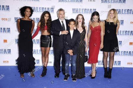 Luc Besson and Virginie Besson-Silla and children