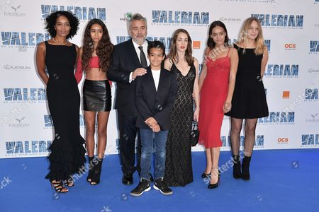 Luc Besson and Virginie Silla and children