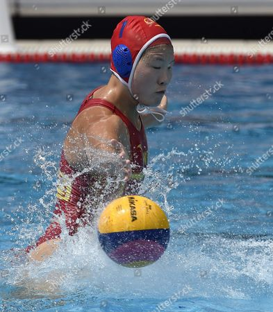 Goalkeeper Lin Peng of China in action during the women's water polo China vs. The Netherlands match for 9th place of the 17th FINA Swimming World Championships in Budapest, Hungary, 26 July 2017.