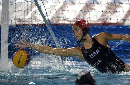 Stock Photo of Goalie Gabrielle Stone of the US makes a save during the women's water polo semifinal match Russia vs United States at the 17th FINA World Championships 2017 in Budapest, Hungary, 26 July 2017.
