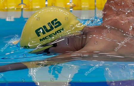 Australia's Cameron McEvoy competes in a men's 100-meter freestyle heat during the swimming competitions of the World Aquatics Championships in Budapest, Hungary