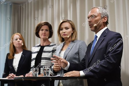 (L-R) Alliansens party leaders, Annie Loof (Centre), Anna Kinberg Batra (Moderate), Ebba Busch Thor (Christian Democartes), Jan Bjorklund (Liberals) together in Stockholm, Sweden July 26, 2017. The party leaders of the Allience (a union between Centre, Moderate, Christian Democrats and the Liberal party) gather at the head quarter for the Moderate party in Stockholm, to declare a 'Suspicious explanation' against the some ministers in the Social Democratic government in the wake of the IT-scandal that was uncoverd resently. 