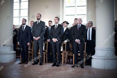 Edouard Philippe, Gerard Collomb, Emmanuel Macron, Dominique Lebrun, Joachim Moyse et Hubert Wulfranc