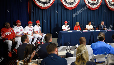 Rob Manfred, Muriel Bowser, Max Scherzer, Bryce Harper, Daniel Murphy, Ryan Zimmerman, Dusty Baker From right to left, Rob Manfred, Commissioner of Baseball, Muriel Bowser, Mayor of the District of Columbia; Marla Lerner Tanenbaum, Washington Nationals' Ryan Zimmerman, Bryce Harper, Max Scherzer, Daniel Murphy, and manager Dusty Baker during a baseball press conference to unveil the 2018 MLB All-Star Game logo, in Washington