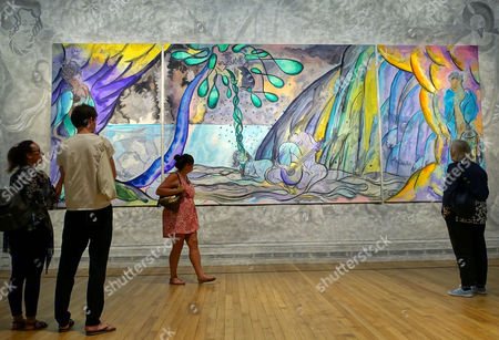 Stock Image of Tapestry 'The Caged Bird's Song' by Chris Ofili on show at the National Gallery, London, UK