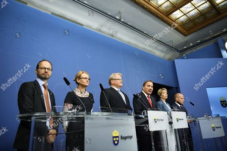 (L-R) Swedish Minister for Infratructure, Thomas Enenroth, Minister for Migration, Helene Fritzon, Minister of Defence, Peter Hultqvist, Prime minister Stefan Lofven, Minister for Social Security Annika Strandhall and Minister for Home Affairs and Justice, Morgan Johansson during a press conference at the Rosenbad, the Swedish government headquarters, in Stockholm, Sweden, 27 July 2017. Prime Minister Lofven announced removal of two goverment ministers, Interior Minister Anders Ygeman and Infrastructure Minister Anna Johansson, in response to no-confidence motion by the opposition Alliance coalition.