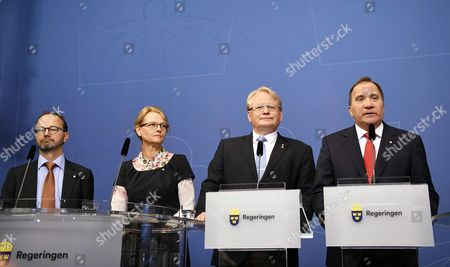 (L-R) Swedish Minister for Infratructure, Thomas Enenroth, Minister for Migration, Helene Fritzon, Minister of Defence, Peter Hultqvist and Prime minister Stefan Lofven at the Rosenbad, the Swedish government headquarters, in Stockholm, Sweden, 27 July 2017. Swedish Prime Minister Stefan Lofven announced removal of two goverment ministers, Interior Minister Anders Ygeman and Infrastructure Minister Anna Johansson, in response to no-confidence motion by the opposition Alliance coalition.