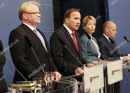Peter Hultqvist, Stefan Löfven, Annika Strandhäll, Morgan Johansson