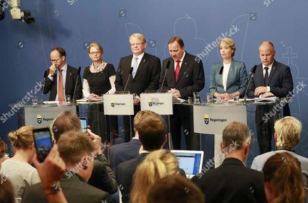 Thomas Eneroth, Heléne Fritzon, Peter Hultqvist, Stefan Löfven, Annika Strandhäll, Morgan Johansson