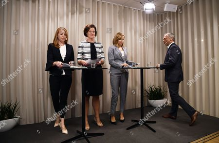 (L-R) Swedish Alliance coalition leaders: Center Party Annie Looff,  Moderate Party Anna Kinberg, Christian Democrats Ebba Busch Thor and Liberals Jan Bjorklund at a press conference in Stockholm, Sweden, 26 July 2017 (issued 27 July 2017). The Alliance coalition leaders (union between Centre, Moderate, Christian Democrats and the Liberal parties) announced a no-confidence vote against three ministers: Defence Minister Peter Hultqvist, Interior Minister Anders Ygeman and Infrastructure Minister Anna Johansson following the data leak that made top secret police databases available to foreign IT workers. On 27 July Prime Minister Lofven announced removal of Interior Minister Anders Ygeman and Infrastructure Minister Anna Johansson.