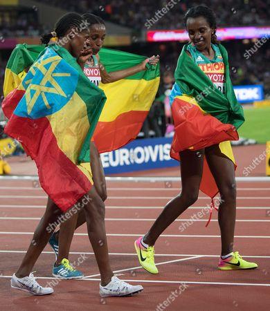Stock Image of Dera Dida, Almaz Ayana and Tirunesh Dibaba  IAAF World Athletics Championships London 2017 Day Two London Stadium Queen Elizabeth Park London UK 5/8/2017 Copyright Photo : Sandra Mailer