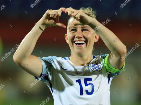 Laura Bassett of England thanks the fans at the end of the game