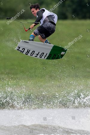 Stock Image of Beto Perez Gordillo of Mexico competes in the wakeboard finals at the World Games of the non-Olympic sports in Wroclaw, Poland, 27 July 2017.