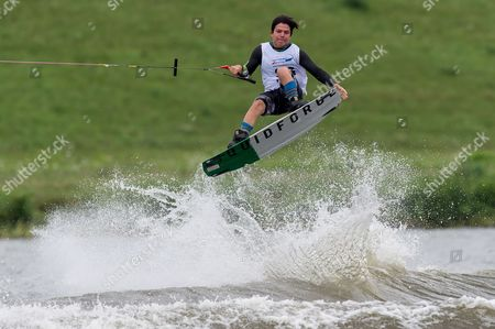Stock Picture of Beto Perez Gordillo of Mexico competes in the wakeboard finals at the World Games of the non-Olympic sports in Wroclaw, Poland, 27 July 2017.