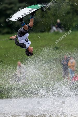 Beto Perez Gordillo of Mexico competes in the wakeboard finals at the World Games of the non-Olympic sports in Wroclaw, Poland, 27 July 2017.