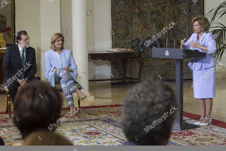 Mariano Rajoy listens to Maria Teresa Campos make a speech