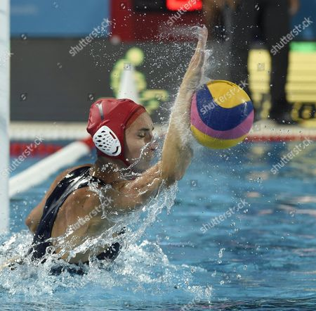Stock Picture of Goalie Gabrielle Stone of the US makes a save during the women's water polo final match United States vs Spain at the 17th FINA World Championships 2017 in Budapest, Hungary, 28 July 2017.