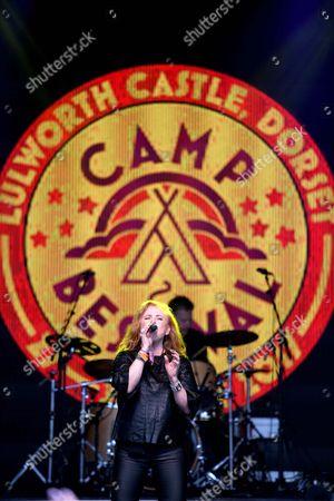 Carol Decker of T'Pau performs at Camp Bestival, Dorset, UK