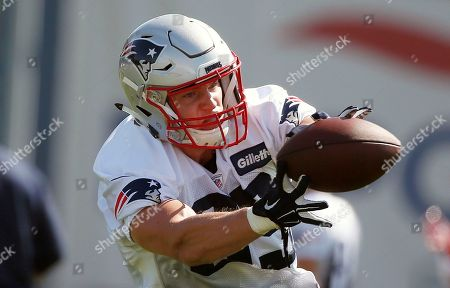New England Patriots tight end Sam Cotton makes a catch during NFL football training camp, in Foxborough, Mass