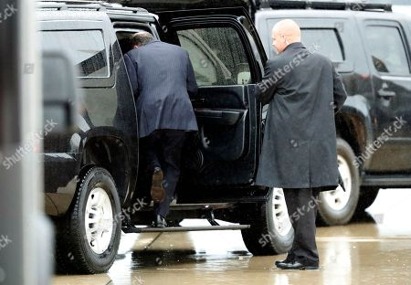Former White House Chief of Staff Reince Priebus steps into a vehicle after coming off Air Force One, at Andrews Air Force Base, Md. Trump says Homeland Secretary Secretary John Kelly is his new White House chief of staff