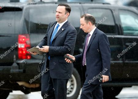 Reince Priebus, Dan Scavino White House Director of Social Media Dan Scavino, left, walks to a vehicle with former White House Chief of Staff Reince Priebus as they arrive, at Andrews Air Force Base, Md. Trump says Homeland Secretary Secretary John Kelly is his new White House chief of staff