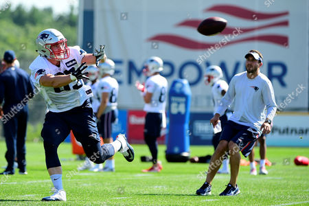 New England Patriots tight end Sam Cotton (85) makes a catch at the New England Patriots training camp held at Gillette Stadium, in Foxborough, Massachusetts