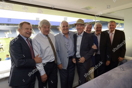 Stan Bowles poses with QPR legends  (l-r) John Hollins, Ian Gillard, Gerry Francis, Stan Bowles, Don Shanks, Don Givens and un-none)