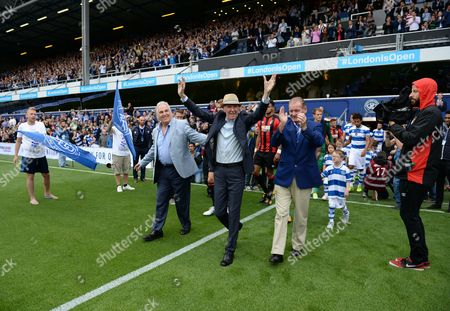 Stan Bowles, with Don Shanks and Gerry Francis leads the teams out