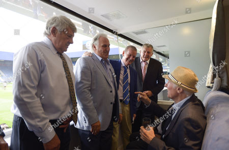 Stan Bowles talks with QPR legends (l-r) Ian Gillard, Gerry Francis, Don Shanks, Don Givens