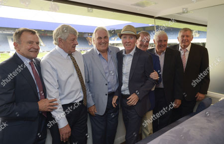 Stan Bowles poses with QPR legends  (l-r) John Hollins, Ian Gillard, Gerry Francis, Stan Bowles, Don Shanks, Don Givens and Ron Abbott
