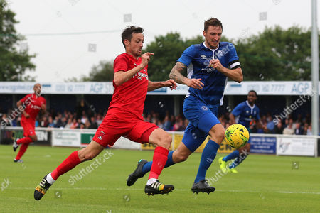 David Mooney of Leyton Orient and Rob Swaine of Billericay Town during Billericay Town vs Leyton Orient, Friendly Match Football at the AGP Arena on 29th July 2017