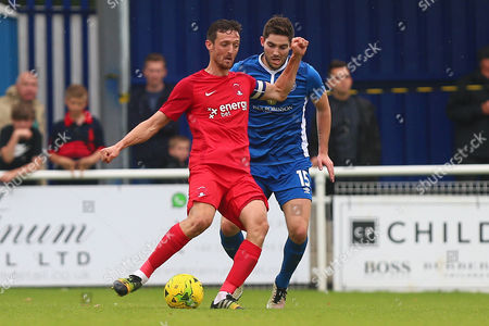 David Mooney of Leyton Orient and Robbie Evans of Billericay Town during Billericay Town vs Leyton Orient, Friendly Match Football at the AGP Arena on 29th July 2017