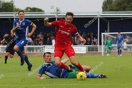 David Mooney of Leyton Orient is brought down by Joe Ellul of Billericay Town during Billericay Town vs Leyton Orient, Friendly Match Football at the AGP Arena on 29th July 2017