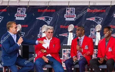 Former New England Patriots players Scott Zolack (left), John Hannah, Raymond Clayborn and Mike Haynes during the Patriots Hall of Fame Induction at Gillette Stadium