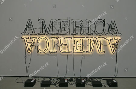 The Broad Museum Exhibits. Double America in Neon and Paint by Glenn Ligon 1960