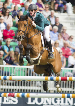 Stock Photo of Daniel Coyle (IRL) riding Cita in action during The Longines King George V Gold Cup, The Longines Royal International Horse Show, 2017, Hickstead Showground, West Sussex, United Kingdom 30th July 2017