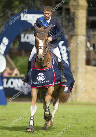 Robert Whitaker (GBR) riding Noble Warrior on his lap of honour after winning The Royal International Accumulator, The Longines Royal International Horse Show, 2017, Hickstead Showground, West Sussex, United Kingdom 30th July 2017