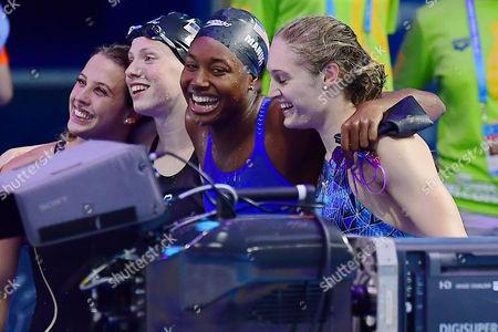 Kathleen Baker, Lilly King, Kelsi Worrell and Simone Manuel