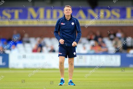 Ex England player Dominic Cork of Derbyshire coaching staff during the Natwest T20 Blast North Group match between Derbyshire County Cricket Club and Leicestershire County Cricket Club at the 3aaa County Ground, Derby