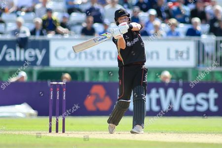 Tom Wells of Leicestershire during the Natwest T20 Blast North Group match between Derbyshire County Cricket Club and Leicestershire County Cricket Club at the 3aaa County Ground, Derby