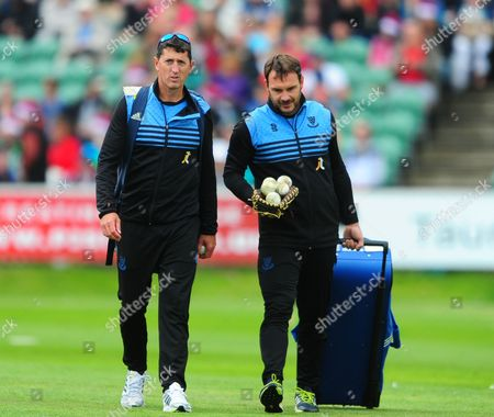 Bowling Coach of Sussex John Lewis and batting coach Michael Yardy look on during the Natwest T20 Blast South group match between Somerset v Sussex on June 30 in Taunton, Somerset.