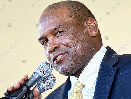 Raines'Sr National Baseball Hall of Fame inductee Tim Raines Sr. speaks during an induction ceremony at the Clark Sports Center, in Cooperstown, N.Y