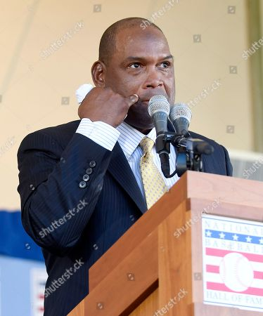 Tim Raines'Sr National Baseball Hall of Fame inductee Tim Raines Sr. speaks during an induction ceremony at the Clark Sports Center, in Cooperstown, N.Y