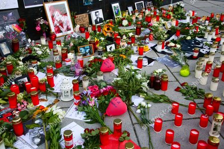 Editorial picture of Grave of the German politician Walter Scheel at the first anniversary of his death at the Waldfriedhof, Berlin, Germany - 08 Jul 2017