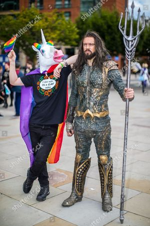 ' The Gay Unicorn ' (Joseph Jones, 18 from West Yorkshire) with New Aquaman (Robin Yardley (31 from Worcestershire).