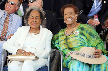 Claire Smith, Rachel Robinson Former sportswriter Claire Smith, right, sits with Rachel Robinson, widow of Jackie Robinson, who broke the major League Baseball color barrier in 1947, as both are honored at the National Baseball Hall of Fame in Cooperstown, N.Y. Smith is the first woman to win the J.G. Taylor Spink Award for meritorious contributions to baseball writing, joining other sportswriters in the writers wing of the Hall. Robinson received the Buck O'Neil Award, named after a major figure in the Negro Leagues, for meritorious service to baseball