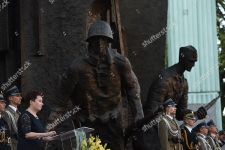 President of Warsaw Hanna Gronkiewicz-Waltz during the Appeal of Remembrance in front of the Warsaw Uprising Monument on pl. Krasinskich in Warsaw, Poland, 31 July 2017. This is in commemoration the 73rd anniversary of the outbreak of the Warsaw Uprising.