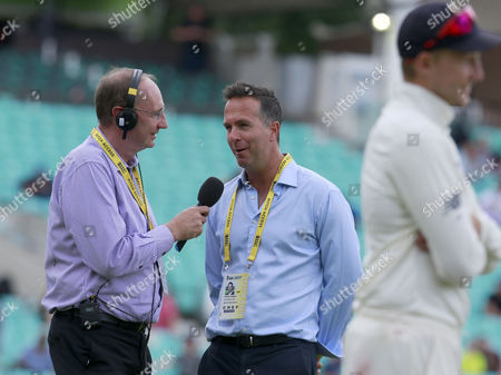 Stock Photo of Michael Vaughan (centre) the former England captain is interviewed by Jonathan Agnew (left) from BBC Test Match Special within earshot of England captain Joe Root (right) who he had criticised after the team?s defeat in the previous Test match