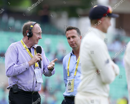 Stock Image of Michael Vaughan (centre) the former England captain is interviewed by Jonathan Agnew (left) from BBC Test Match Special within earshot of England captain Joe Root (right) who he had criticised after the team?s defeat in the previous Test match